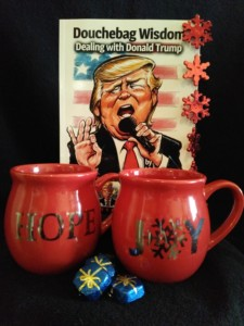 douchebag donald trump with mugs