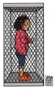 Immigrant girl in cage