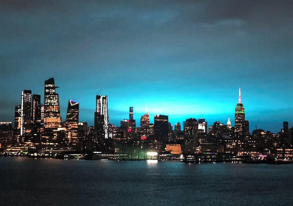 New York city skyline blue light